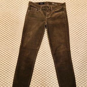 J Crew Toothpick Ankle Olive Green Corduroy Pant